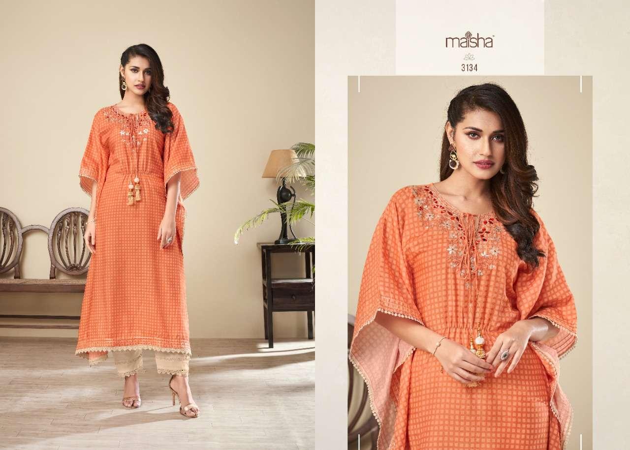 Maisha maskeen Nazhmee silk digital print with mirror Work kaftan Kurtis With pant collection