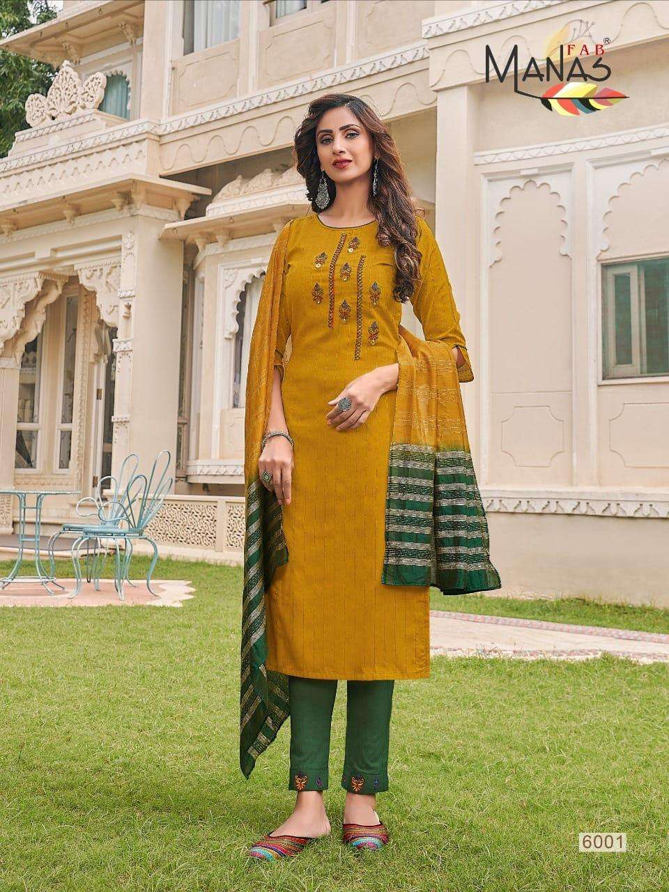 Manas Fab Arina fancy Weaving Sequence Embroidery Hand Work Readymade Suits collection