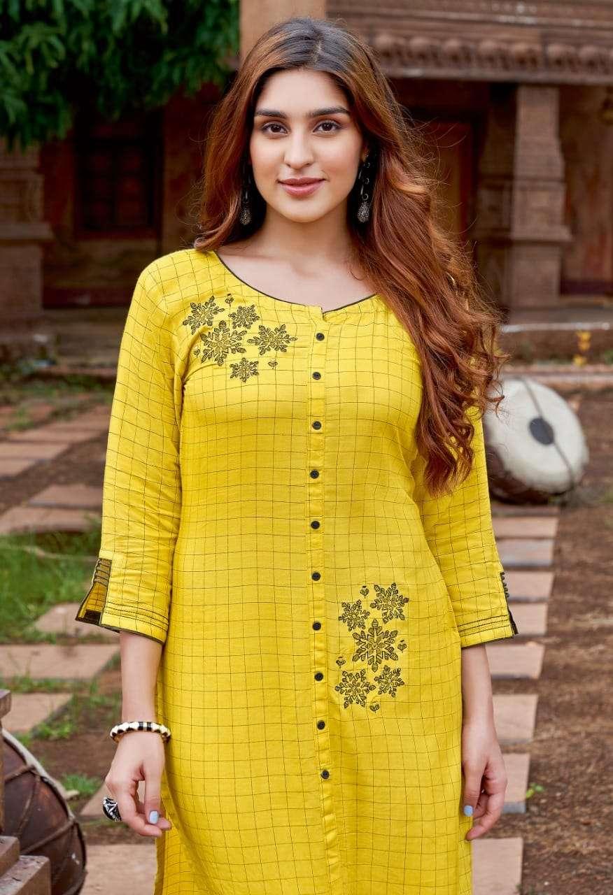 Mittoo fashion Triveni Rayon Weaving checks With Embroidery Hand Work Kurtis Collection