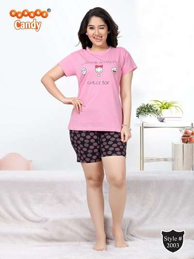 ORANGE CANDY COTTON LYCRA STRETCHABLE NIGHT WEAR COLLECTION