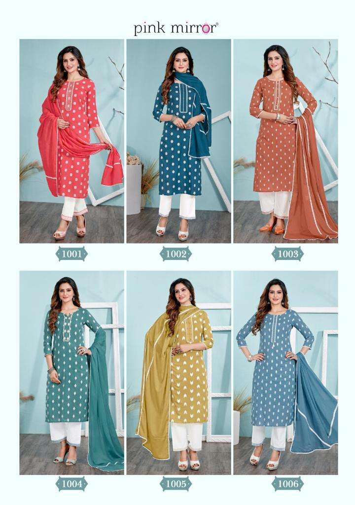 Pink mirror Essence Cotton jacquard With hand Work Kurti With pant Dupatta collection