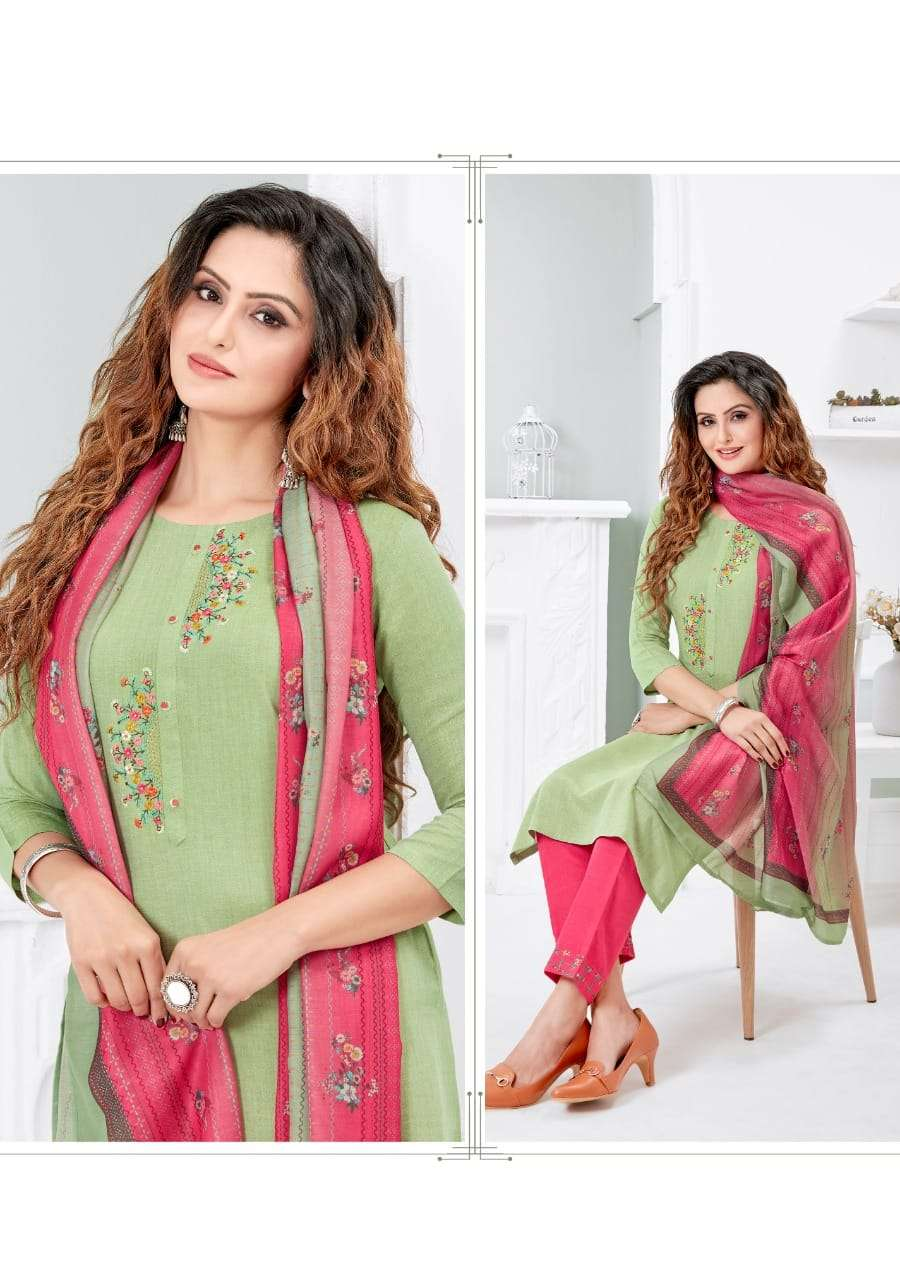 Pink mirror Serenity Viscose Silk With Embroidery hand Work Kurti with Pant dupatta Collection