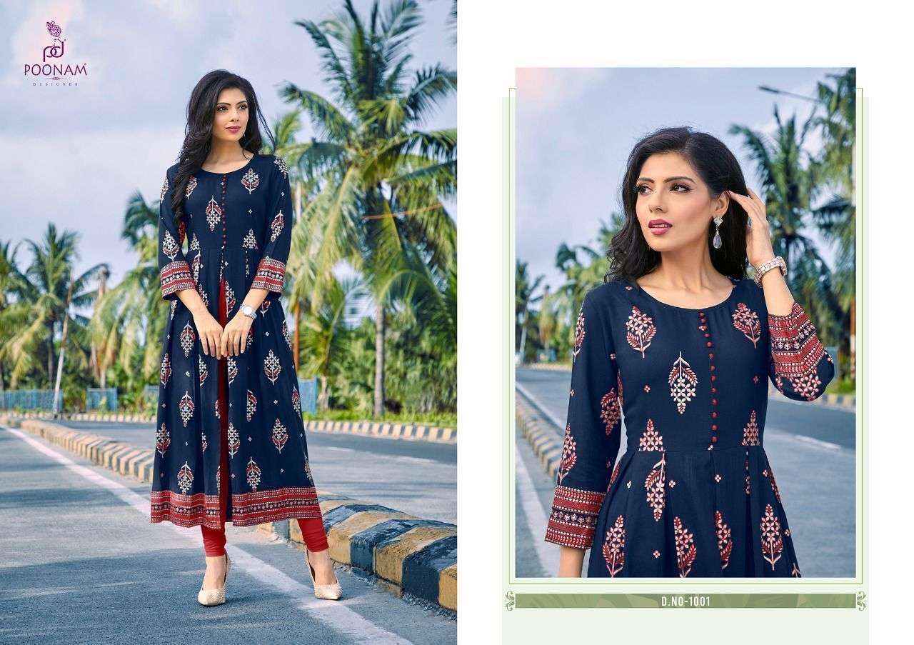 poonam Designer Akshara Rayon Foil print Kurtis Collection