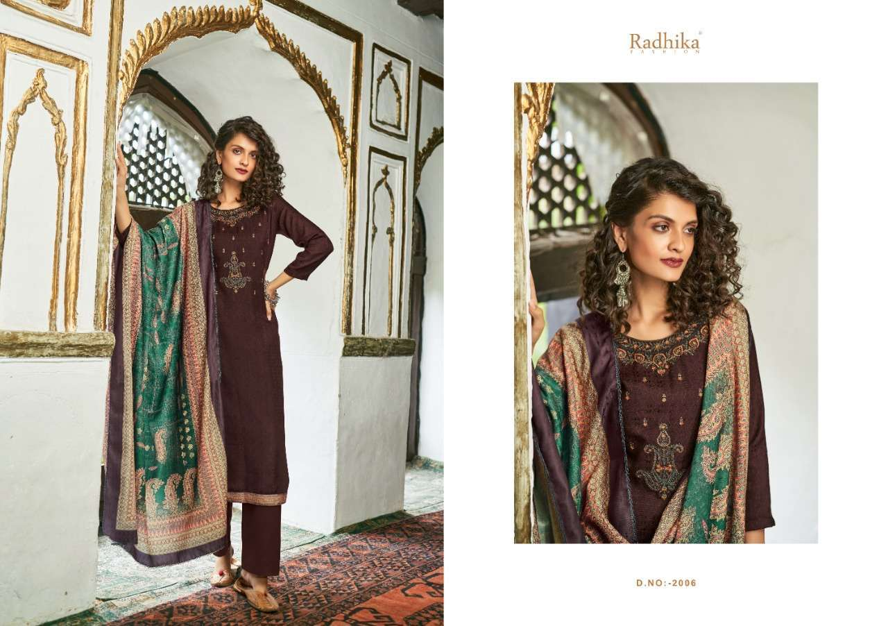 Radhika Sumyra Aaliyah Pashmina Print With Embroidery Work Winter Suits Collection