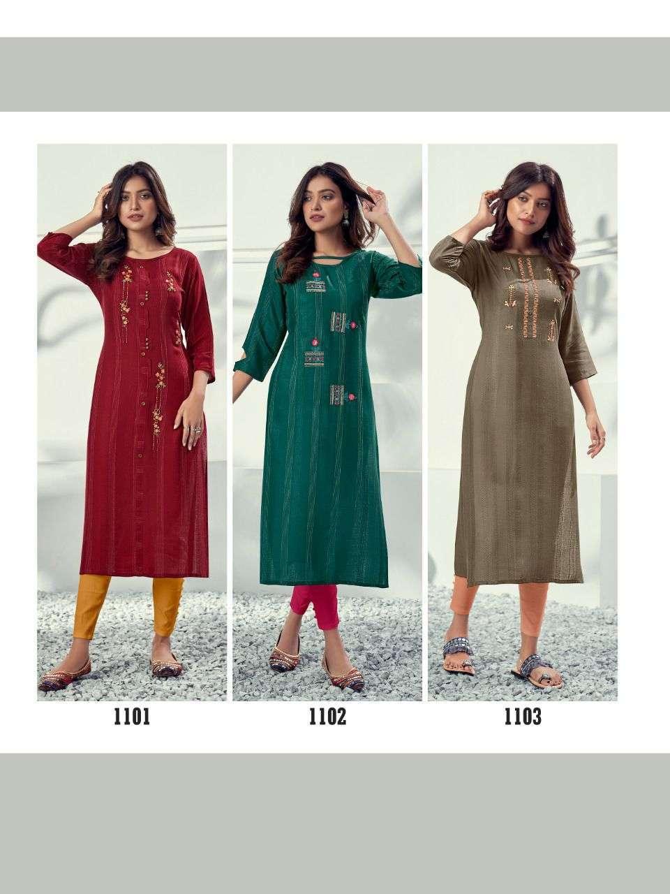 Riya designer Alivia Rayon With Embroidery khatli Work Kurtis Collection