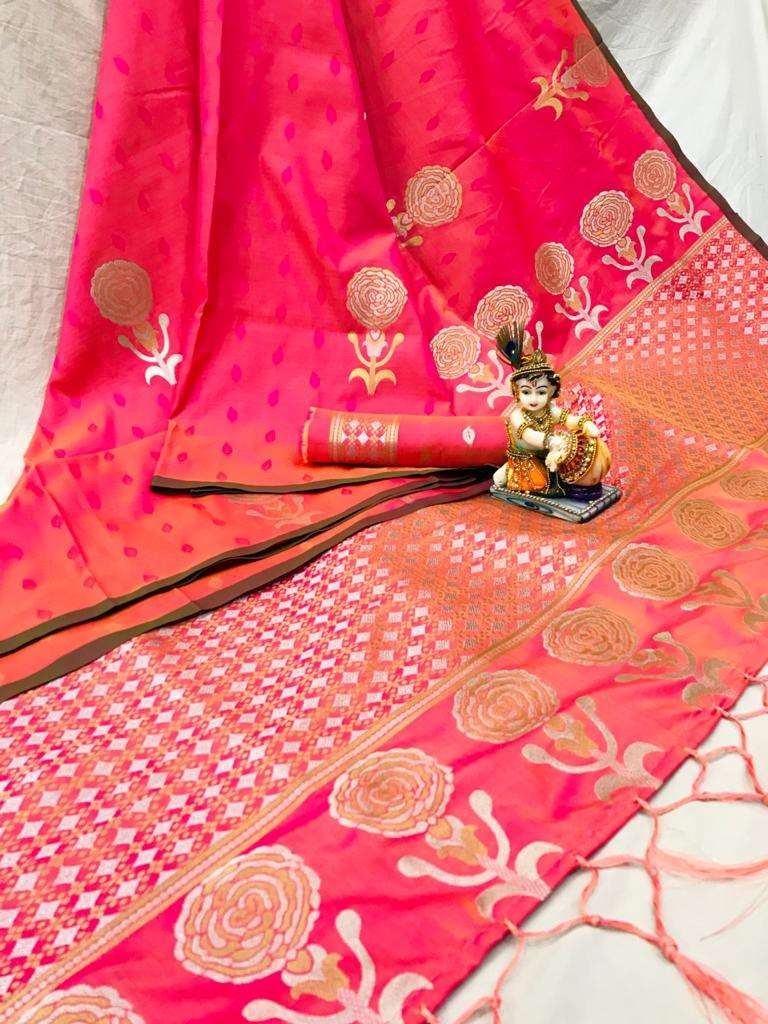 ROSE CANDY LICHI SILK WITH WEAVING SAREE COLLECTION