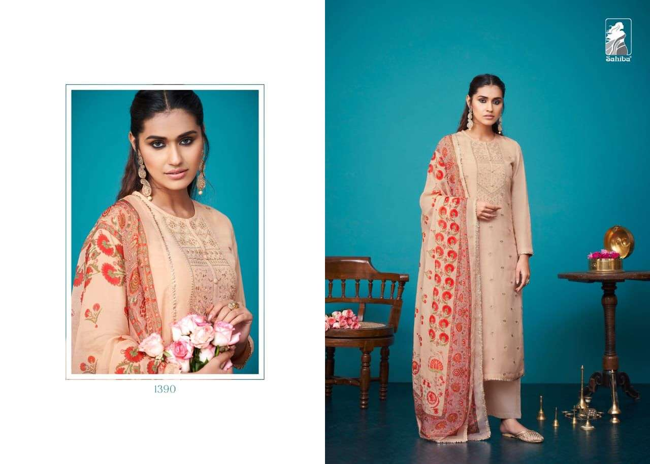 Sahiba Bahar Russian Silk With Embroidery Work Dress Material collection