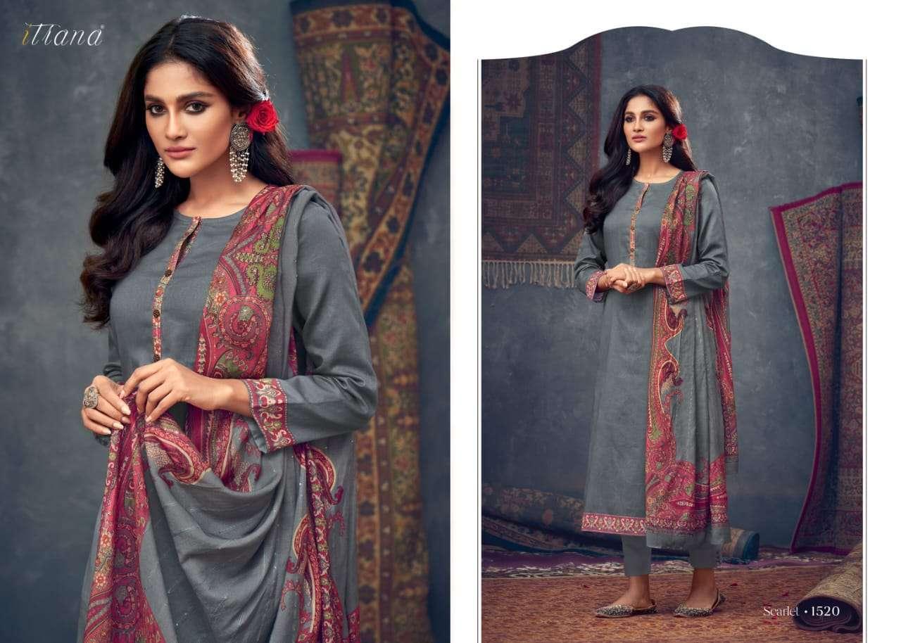 Sahiba Itrana Scarlet Jam satin digital print Dress Material Collection
