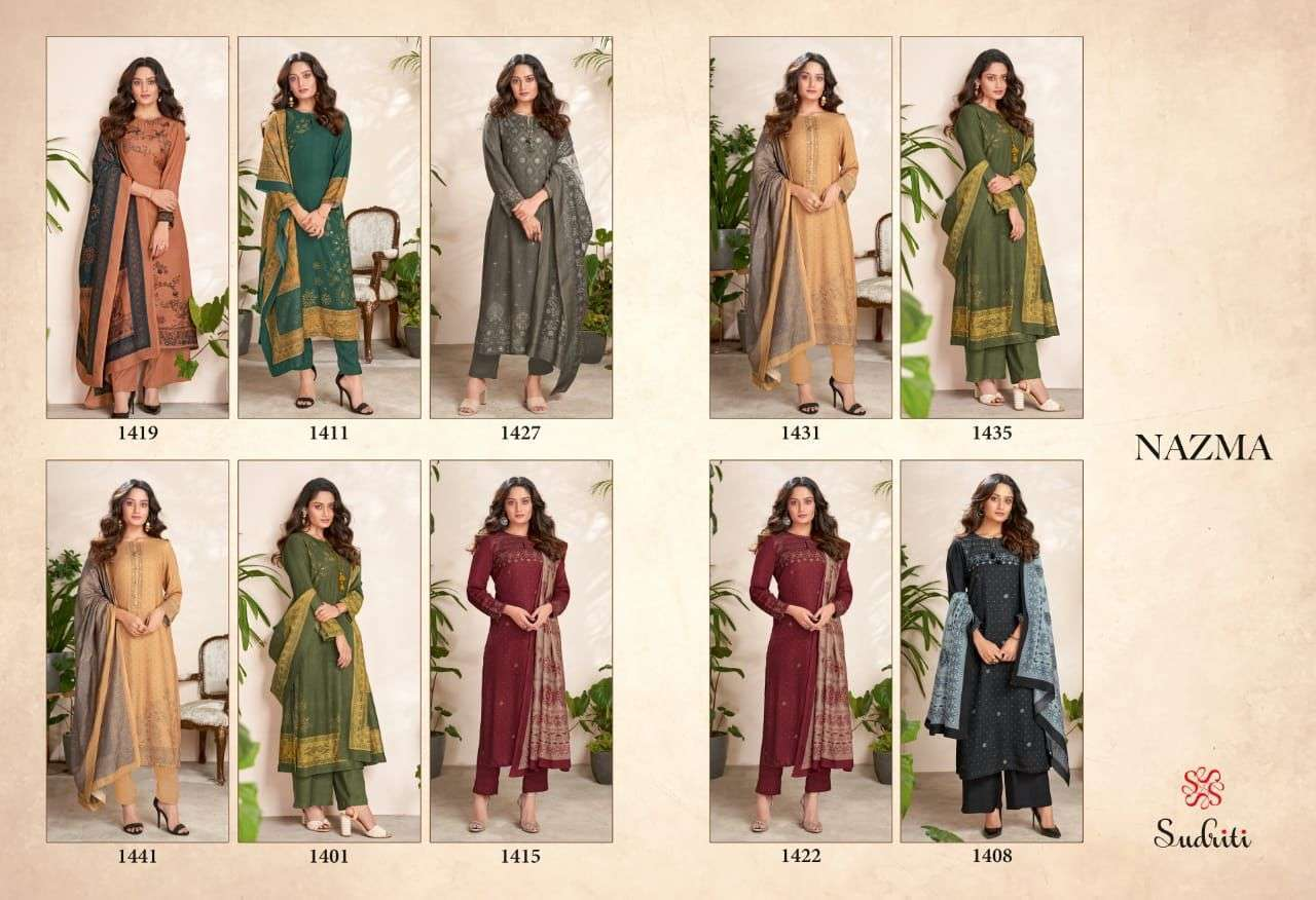 sahiba Sudriti Nazma Pashmina digital print With mirror Work Dress Material Collection