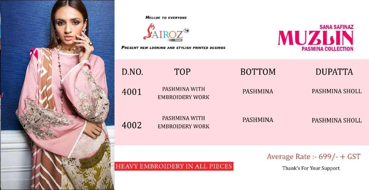 Sairoz Fabs Sana safinaz Muzlin pashmina Print With Embroidery Patch work Dress Material Collection