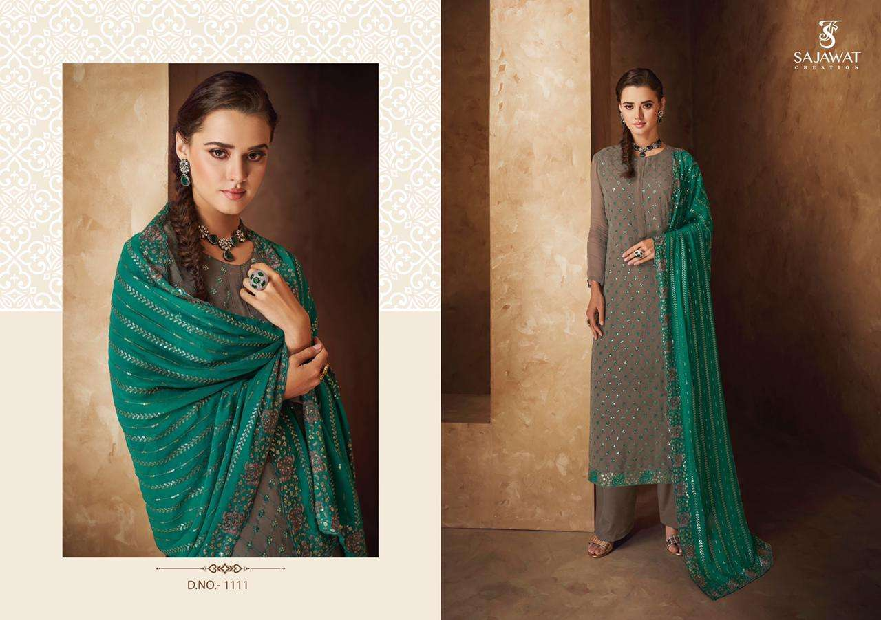 Sajawat Creation Pankhi Vol 2 Faux georgette With Embroidery Work readymade Suits collection