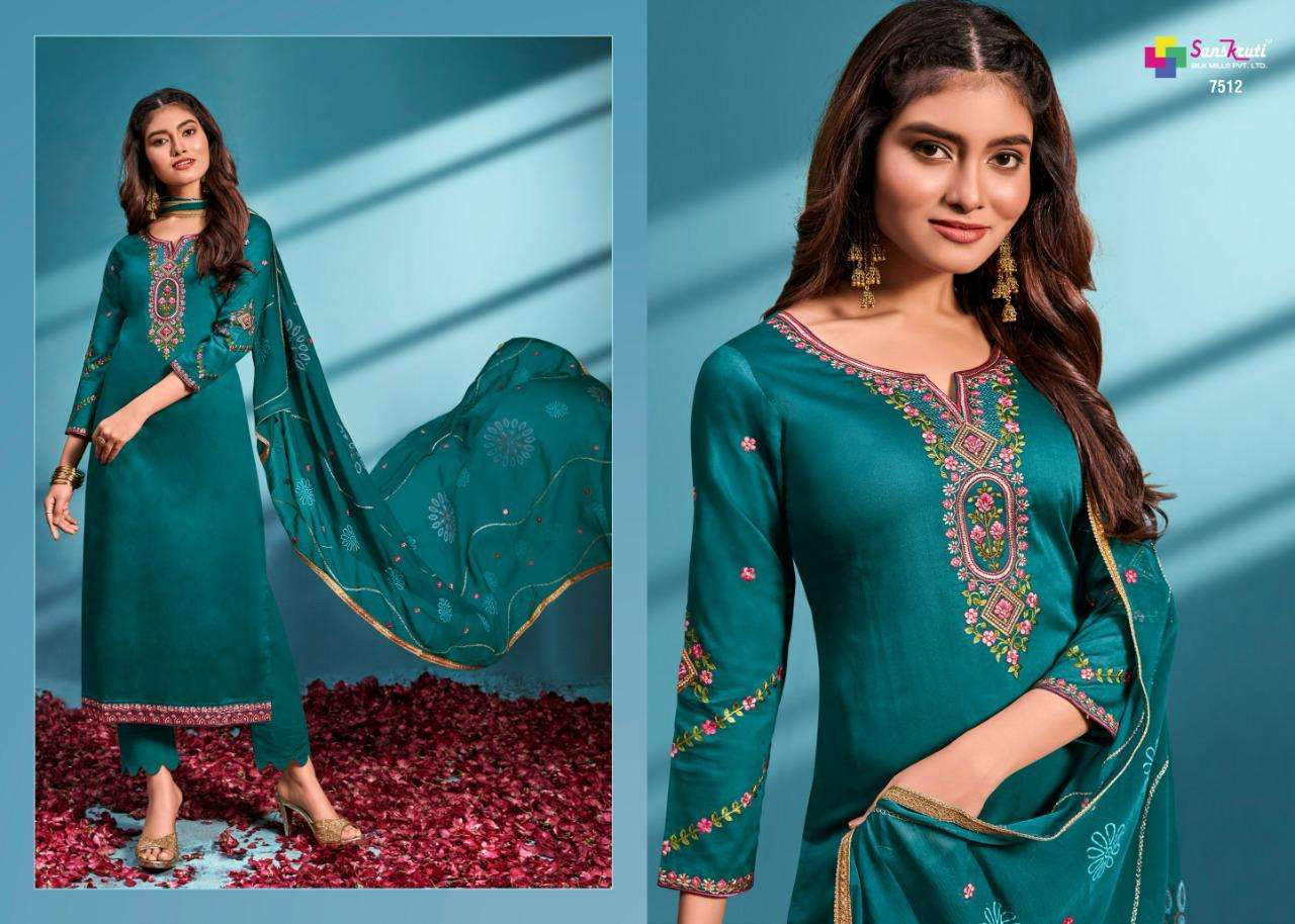 Sanskruti Silk mills Sublime Jam Silk With Embroidery Work dress Material collection