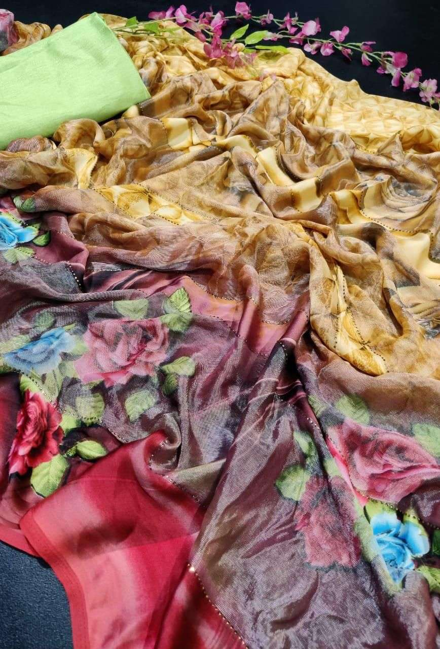 satvam brasso patta with stone work regular wear saree collection