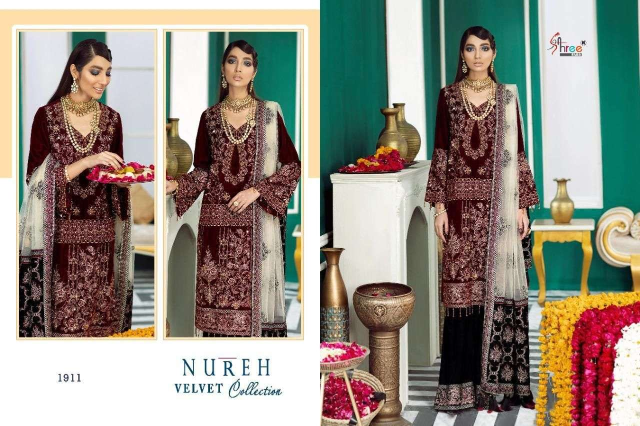 Shree fab nureh pure velvet collection at best price wholesale