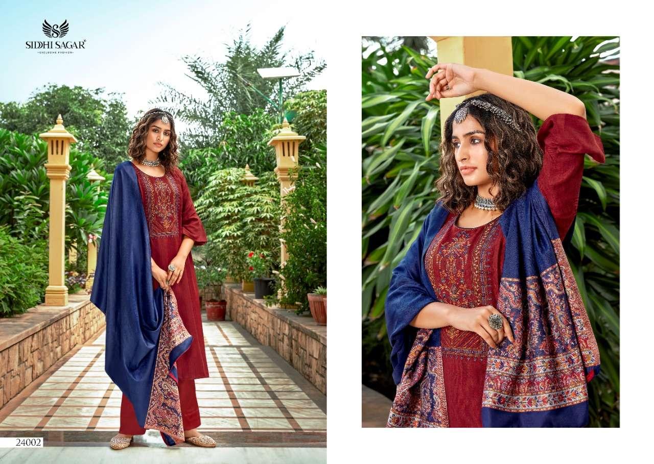 siddhi sagar Sahiba Pashmina With Embroidery work dress Material Collection