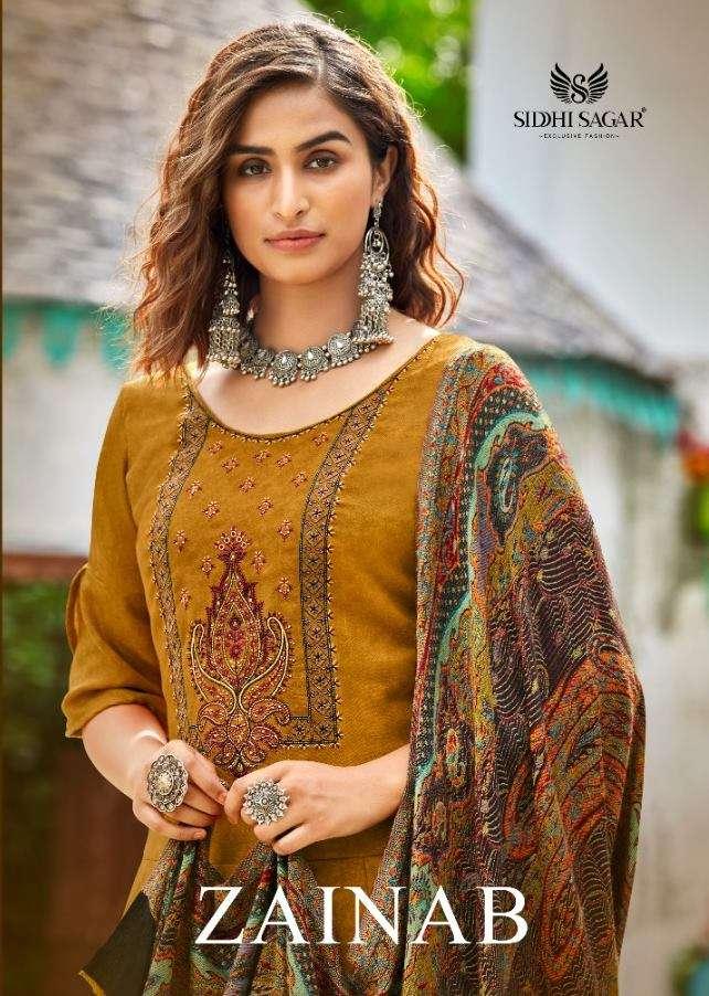 SIDDHI SAGAR ZAINAB PASHMINA WITH SELF PRINT DRESS MATERIAL