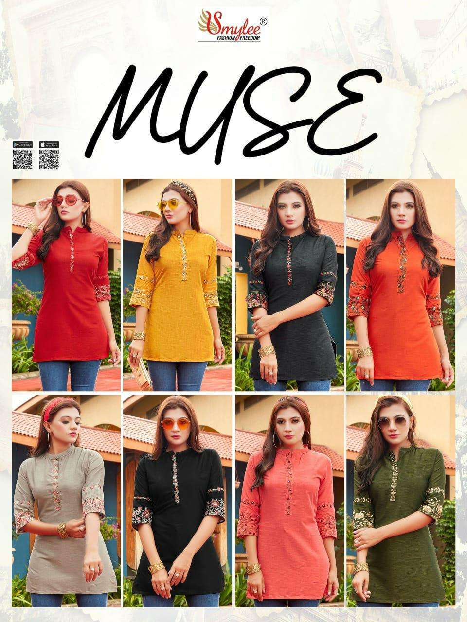 Smylee fashion muse Rayon With Embroidery Work Short Tops collection