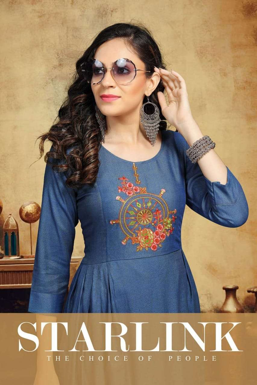 Starlink Rayon Two Tone With Embroidery Work Kurtis Collection