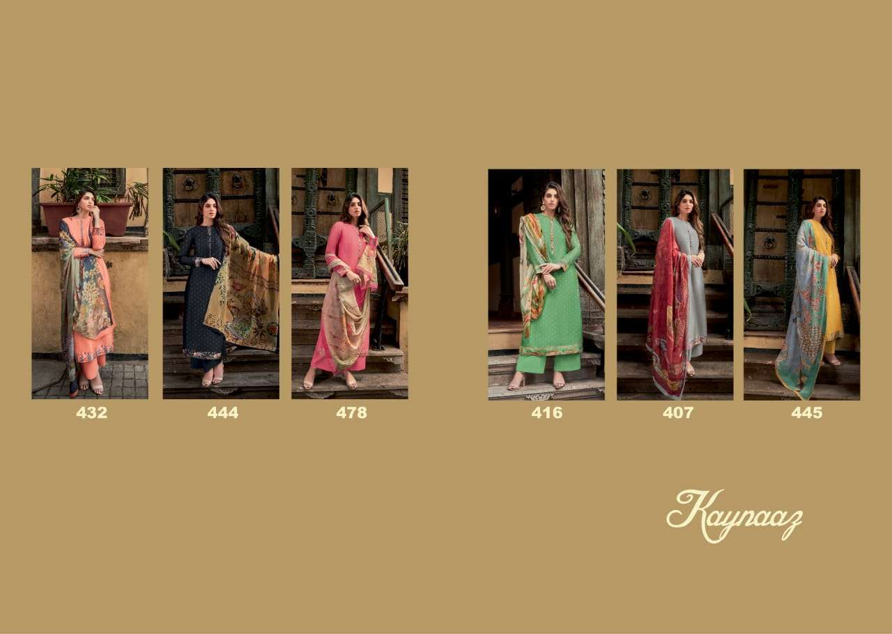 T & M Kaynaaz Russian Silk With Digital Print Dress Material Collection