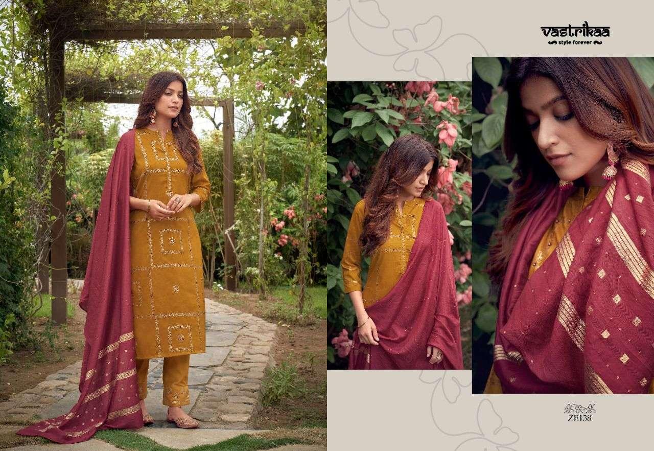Vastrikaa Amaira Chinon Silk Gold Print With hand Work Kurtis With pant Dupatta Collection