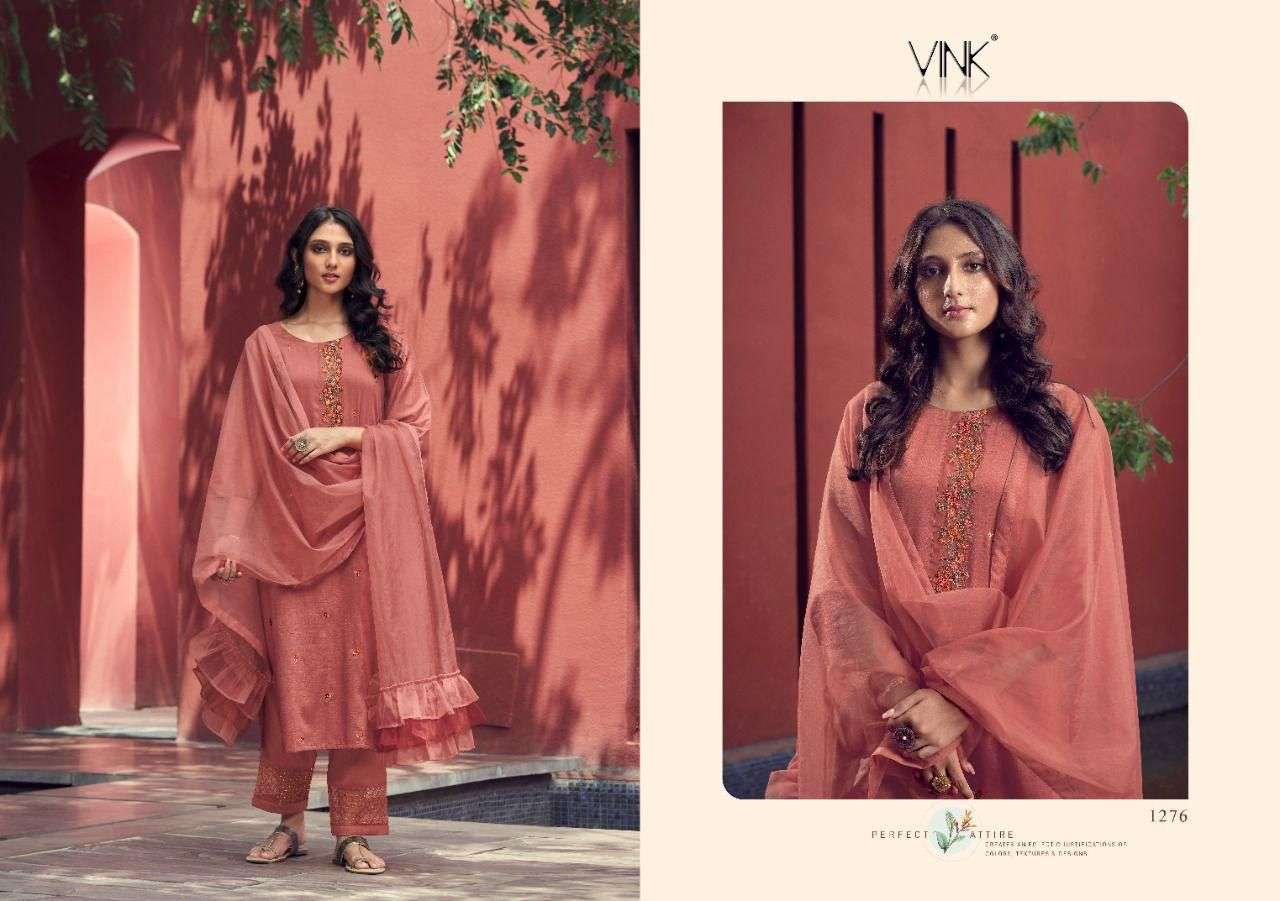 Vink Ruffles Silk With hand Work Kurti With Pant Dupatta collection