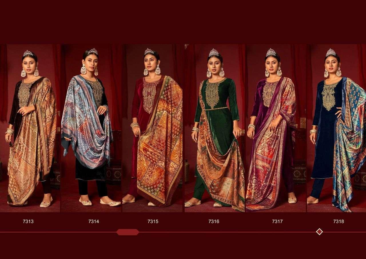 Levisha Mehreen velvet With Work Pashmina suits collection