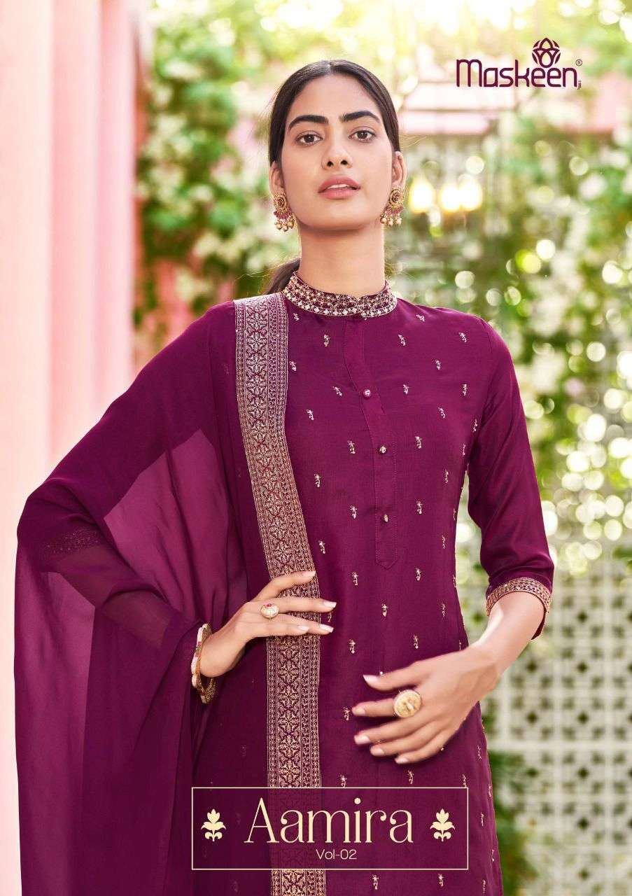 Maisha Maskeen Aamira Vol 2 Silk With Embroidery Work readymade Suits Collection