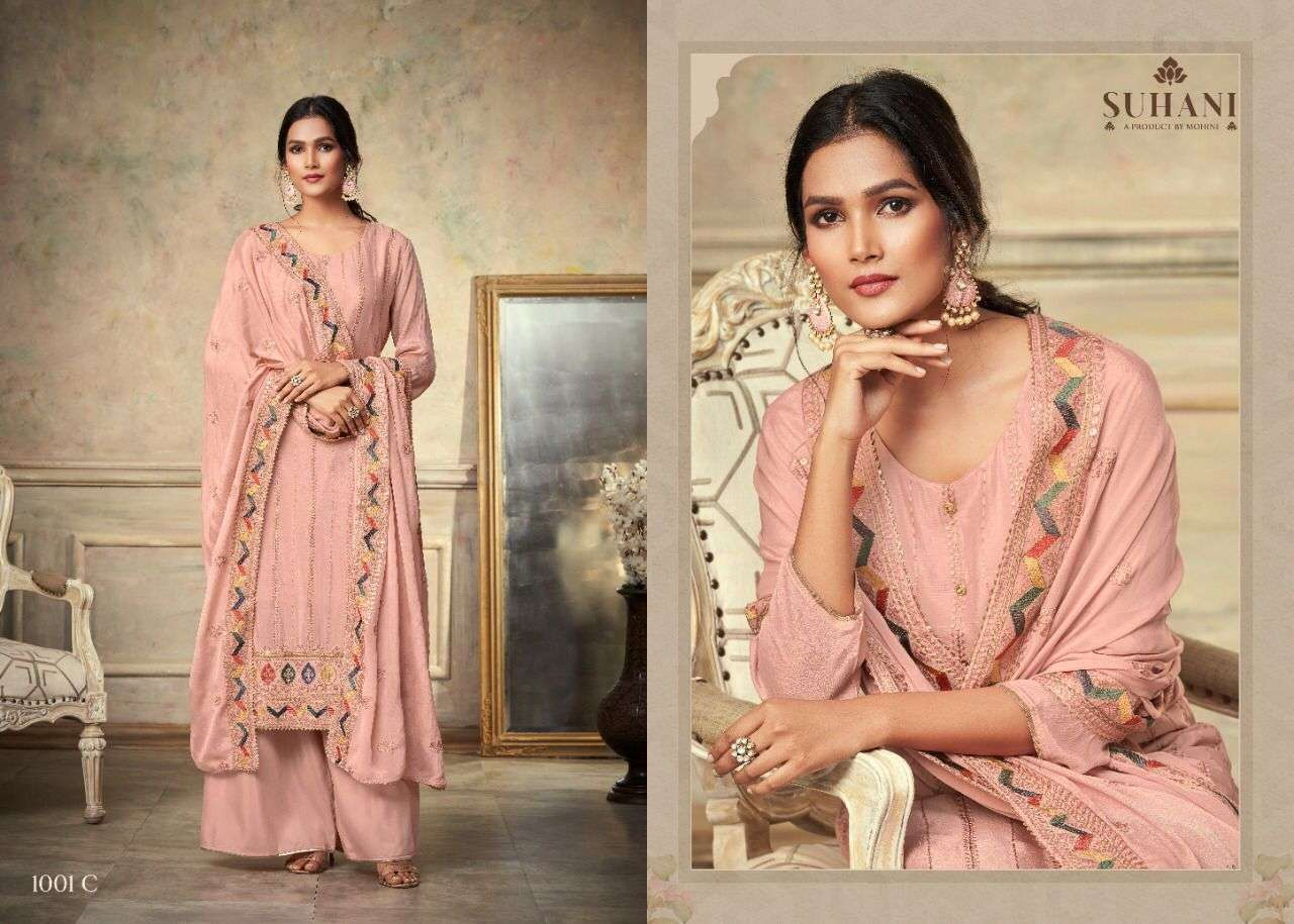 Mohini Fashion Suhani 1001 Series Chinon With Embroidery Work Dress Material Collection