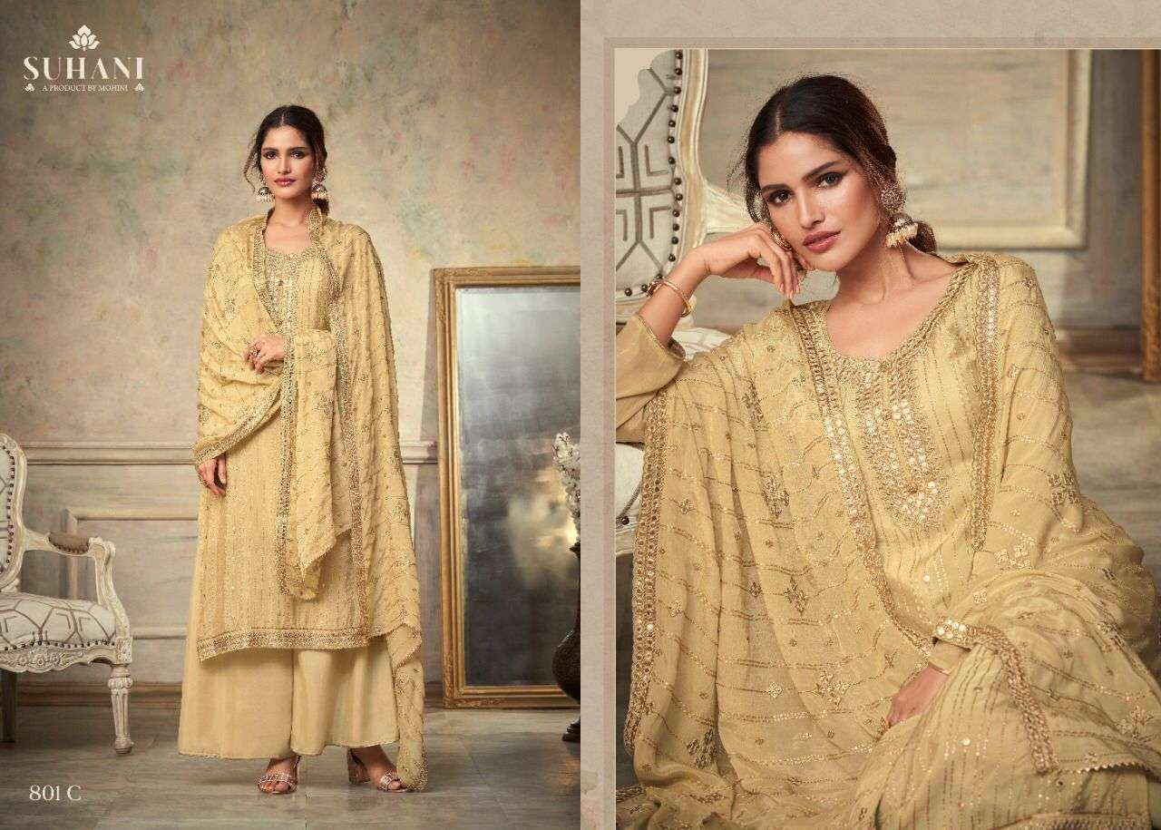 Mohini Fashion Suhani 801 Series Chinon With Embroidery Work Dress Material Collection