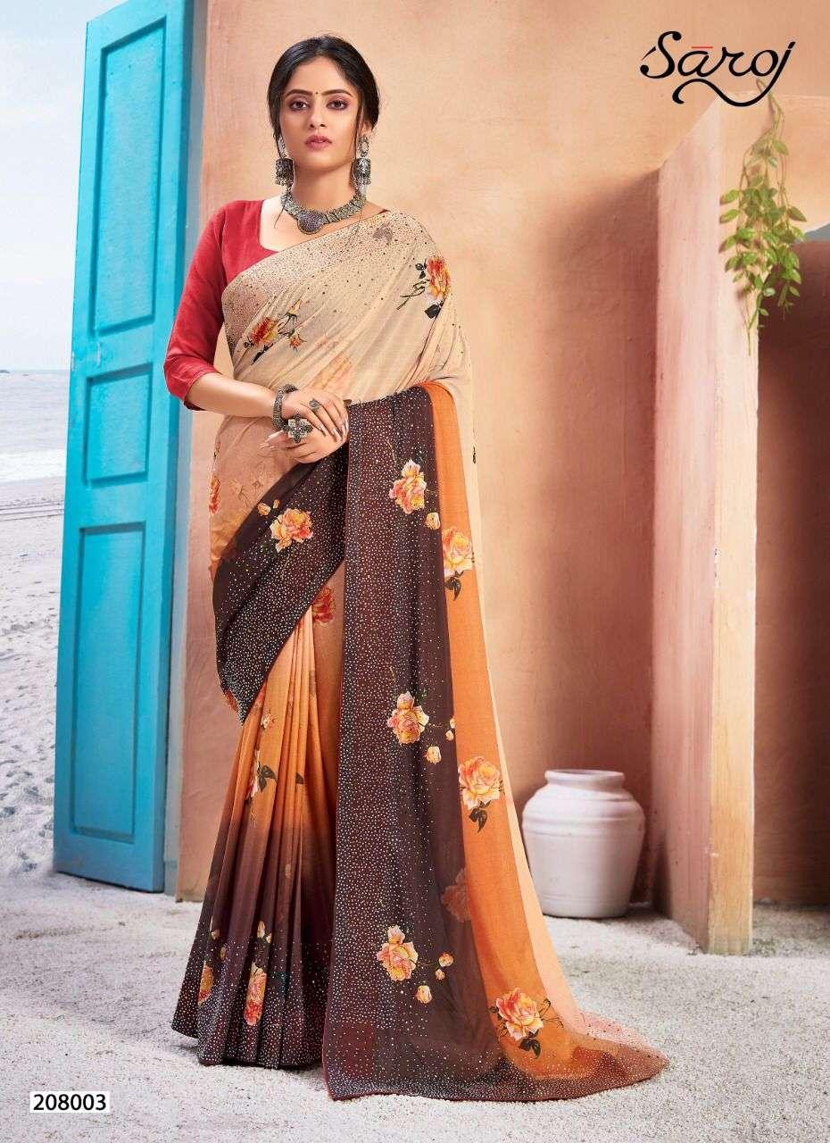 Saroj monali vol 2 lycra with printed saree collection