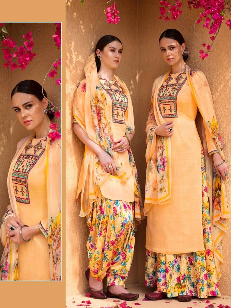 ac08311a01 Heer Vol 39 by Kimora Fashion Stylish Floral Printed Summer Special Pure  Cotton Satin with Embroidery Mirror Hand Work Dress Material Collection at  ...