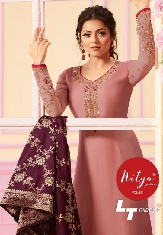 035a8e5c4c LT Fabrics Nitya Vol 121 Heavy Designer Long Straight Satin Georgette with  Heavy embroidery Work Dress Material Collection at Wholesale Rate