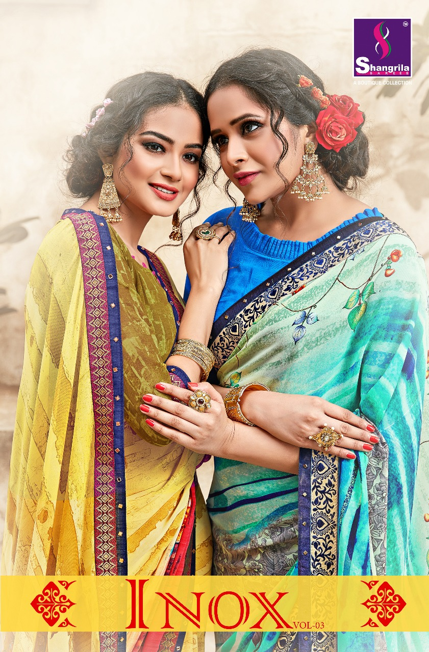 6932b067 Shangrila Sarees Inox Vol 3 Designer Printed Weightless Georgette Sarees  Collection at Wholesale Rate   Ethnic Export