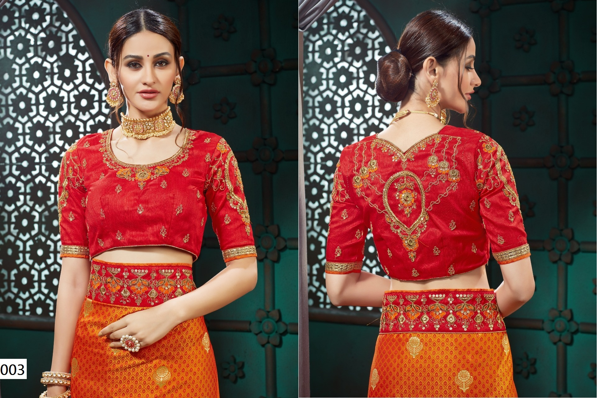 Cotton Slub Blouse With Embroidery And Lace Border