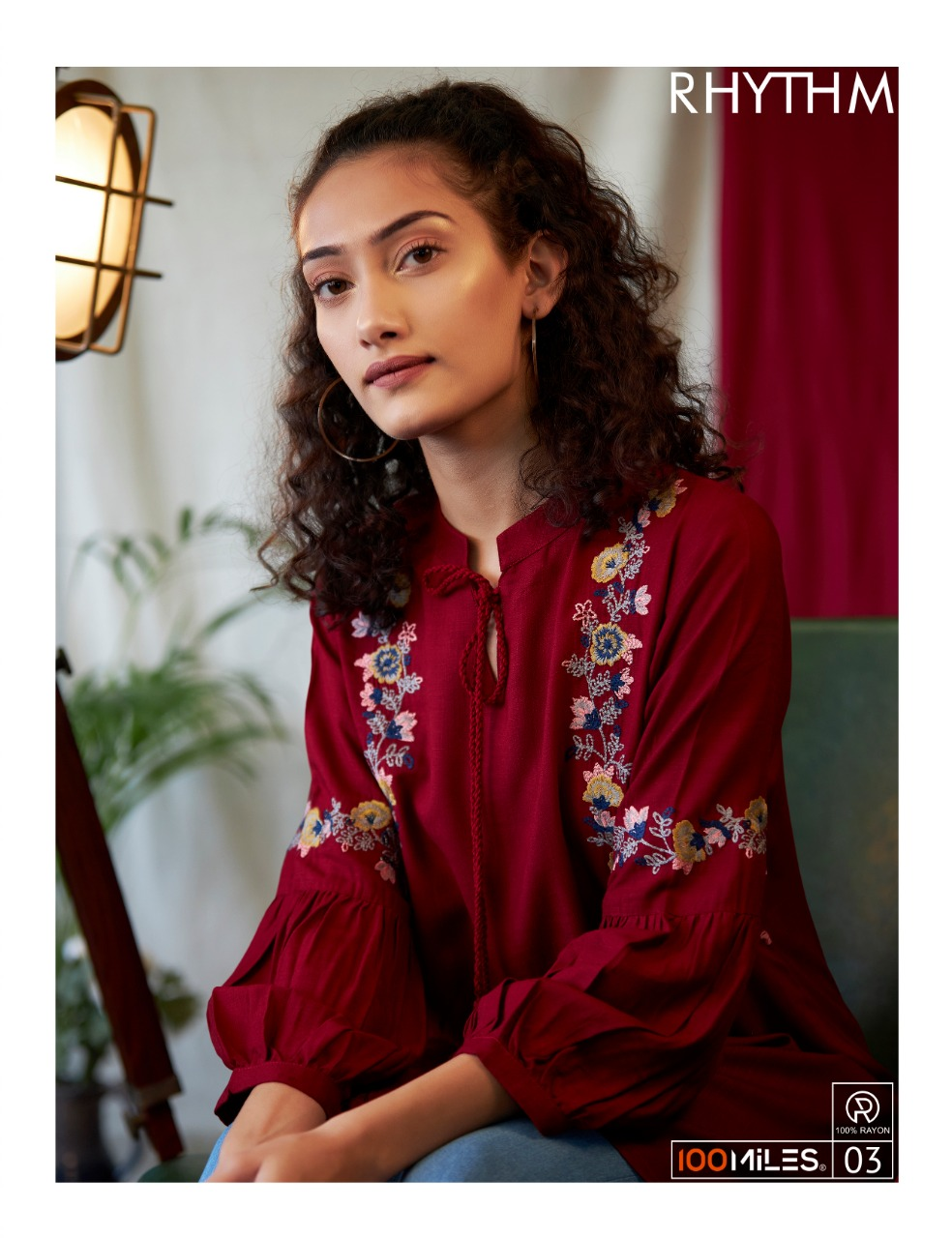 100 Miles Rhythm Rayon With Embroidery Work Readymade Short Western Kurti Tops At Wholesale Rate