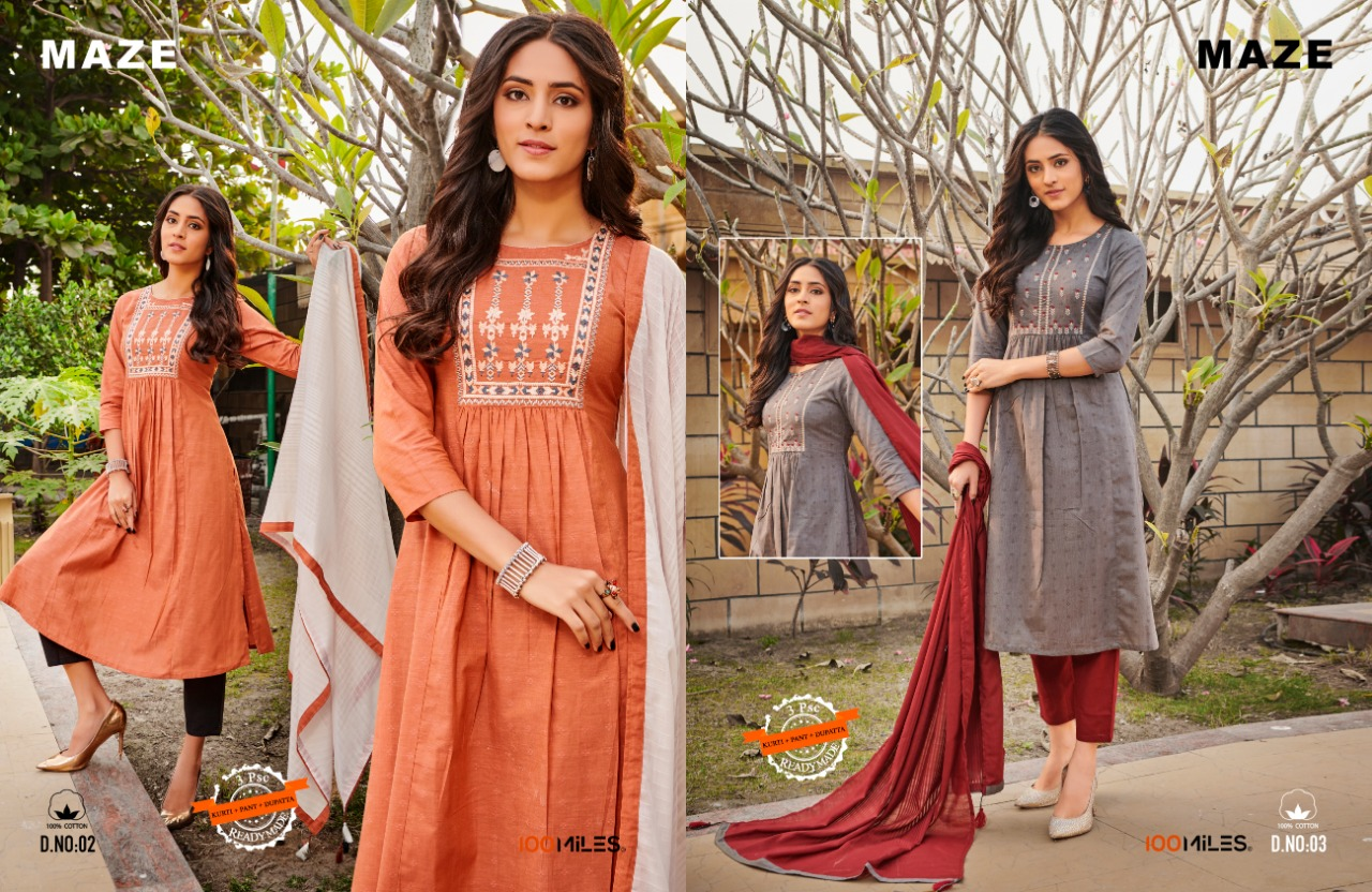 100 Miles Maze Cotton With Embroidery Work Readymade Kurtis With Bottom And Dupatta At Wholesale Rate