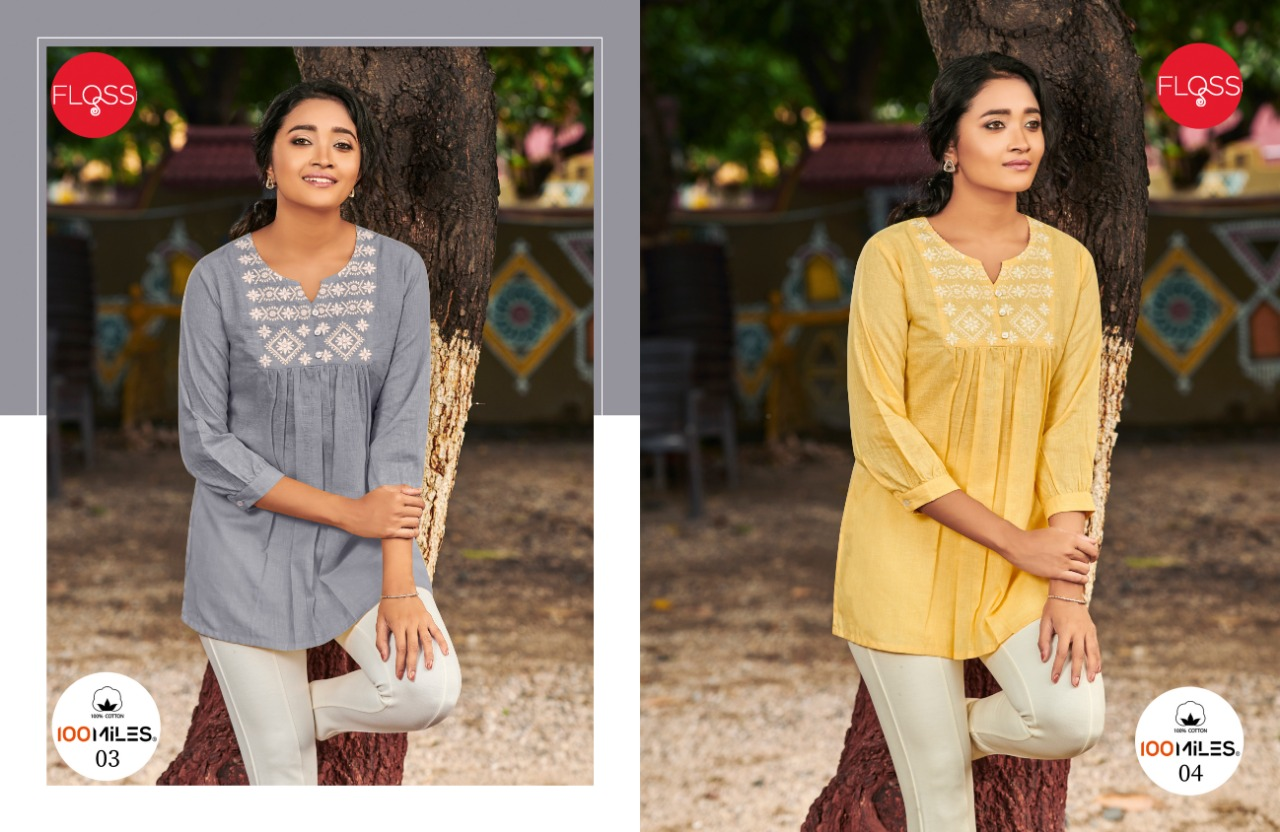 100 Miles Floss Linen Cotton With Work Short Tops Collection At Wholesale Rate