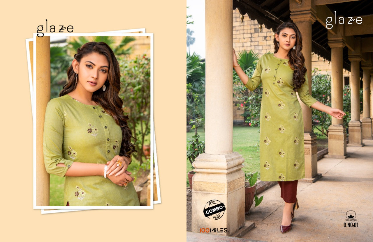 100 Miles Glaze Cotton With Embroidery Work Kurtis With Pant Collection At Wholesale Rate