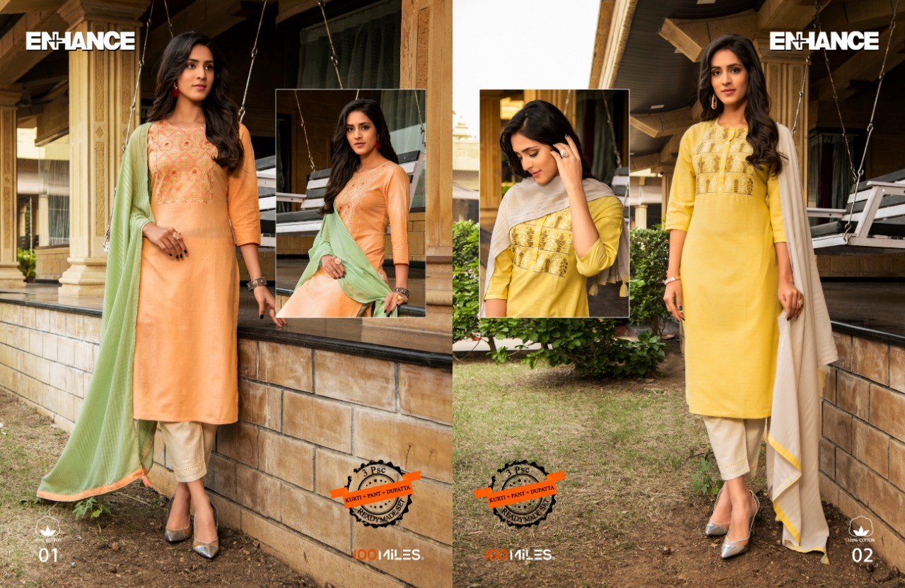 100 Miles Enhance Cotton With Embroidery Work Readymade Kurti With Pant At Wholesale Rate