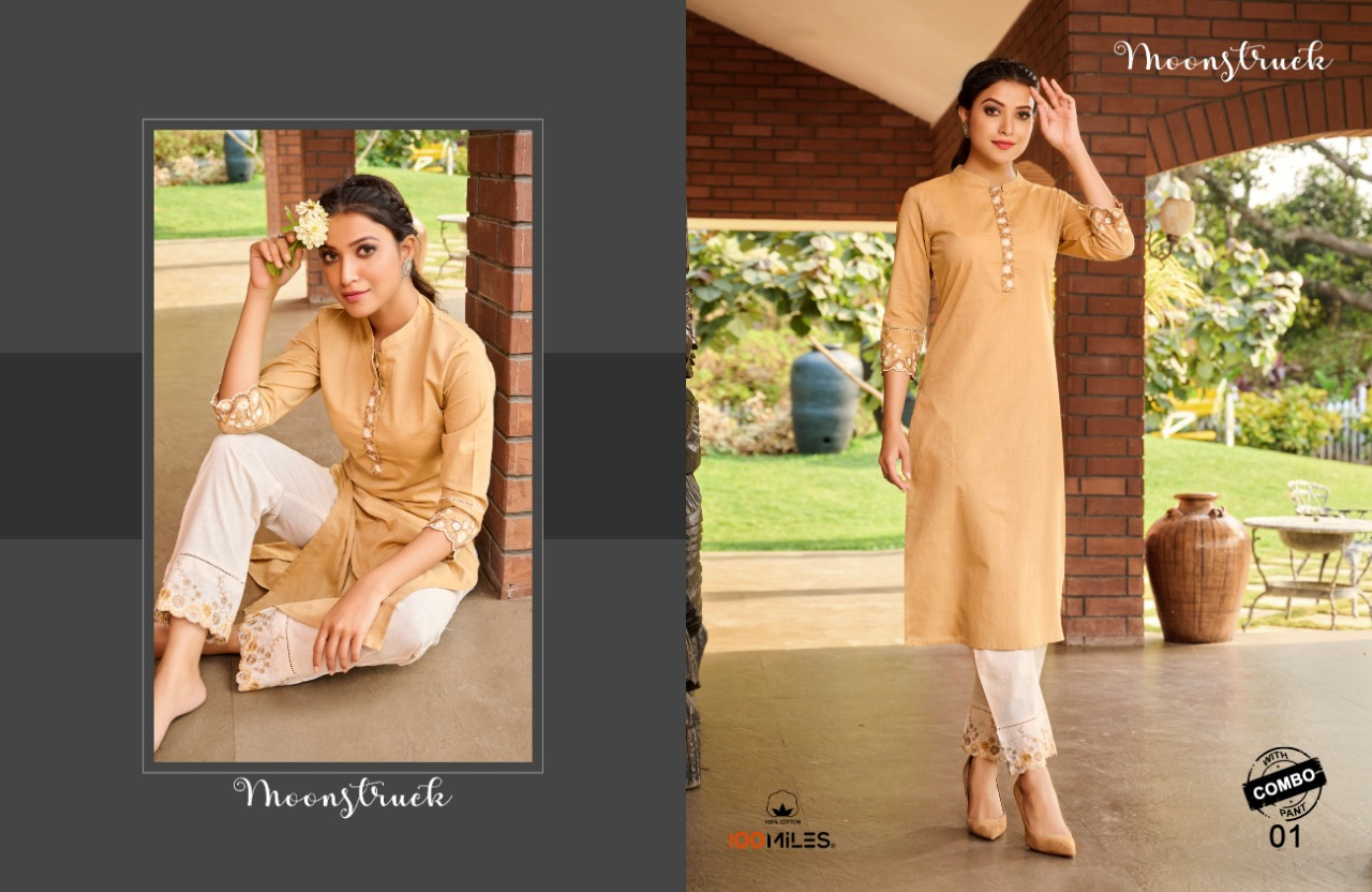 100 Miles Moonstruck Cotton Kurti With Pant Collection At Wholesale Rate