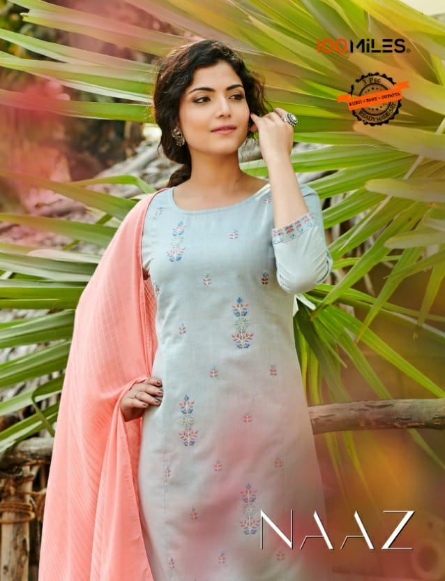 100 Miles Naaz Cotton With Embroidery Work Kurti With Bottom And Dupatta Collection