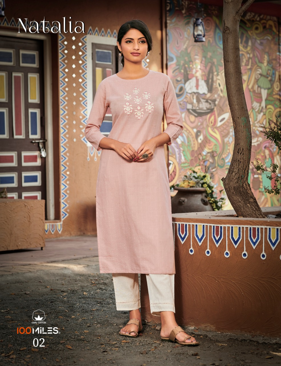 100 Miles Natalia Cotton With Work Kurtis Collection At Wholesale Rate