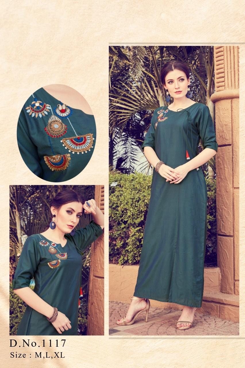 Designer Viscose Silk Cotton Rayon With Work Readymade Kurtis Collection At Wholesale Rate