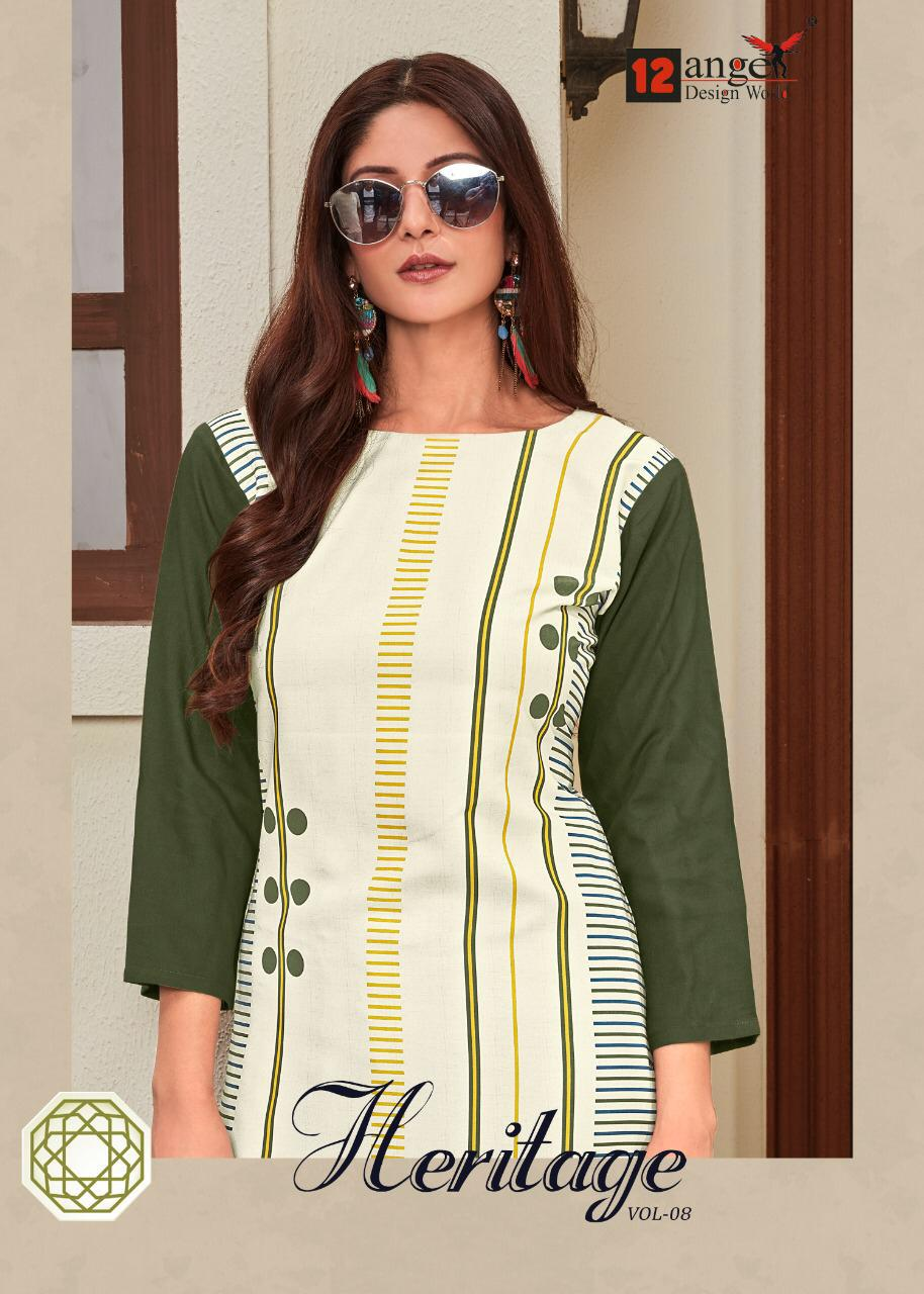 12 Angel Design Heritage Vol 8 Digital Printed Rayon Readymade Kurtis With Palazzo At Wholesale Rate