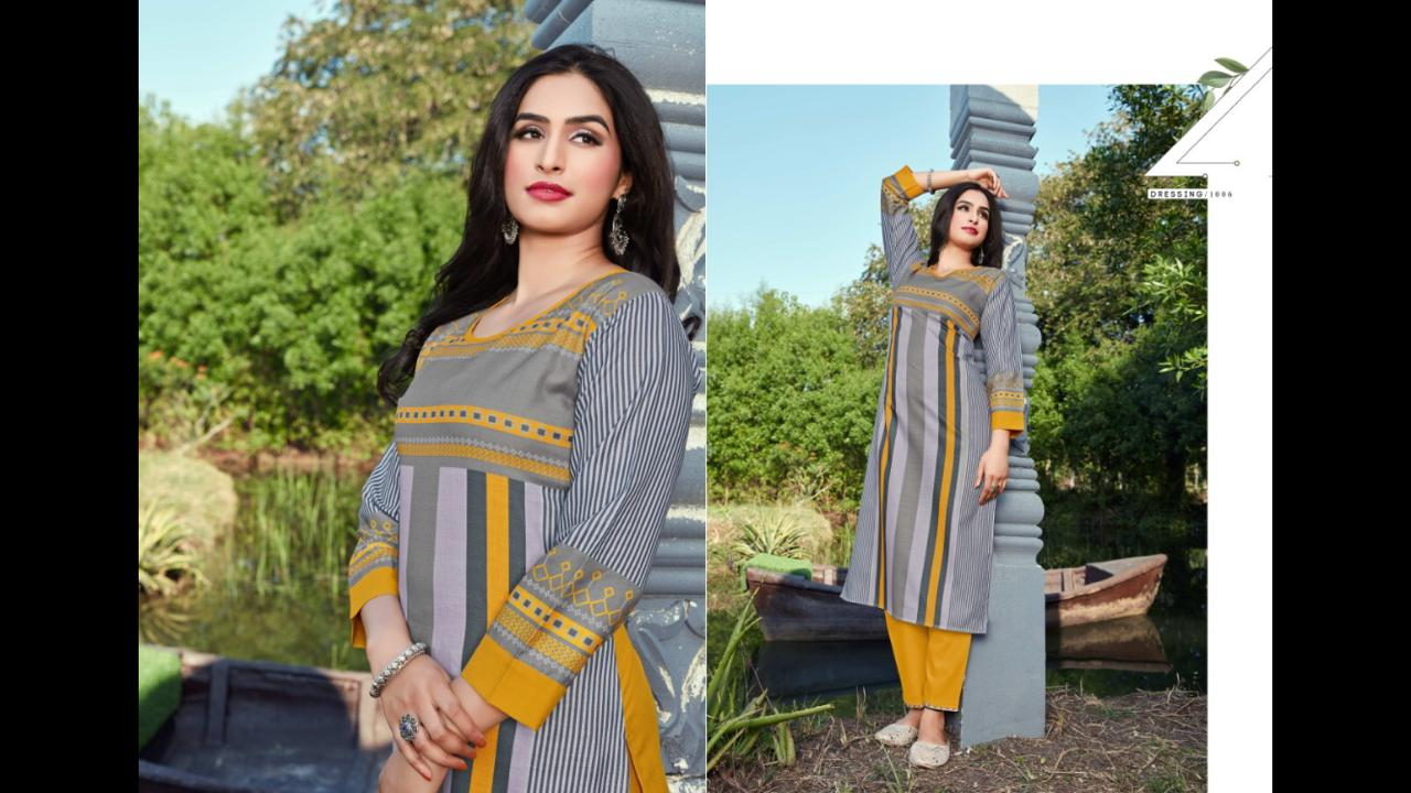 12 Angel Zuric Slub Cotton With Digital Print Regular Wear Kurtis With Pant Collection At Wholesale Rate