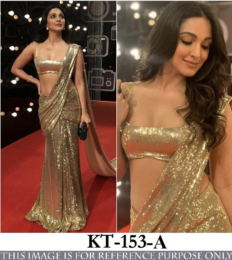 Bollywood Style Kiara Advani Sequence Saree Georgette Fabric Sequence Saree Online