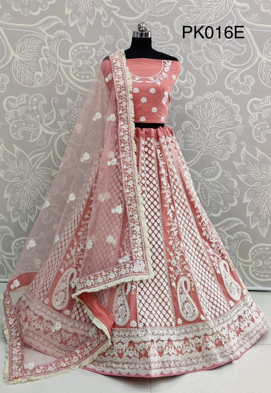 Bridesmaid Special Designer Heavy Net With Heavy Embroidery Work Lehengas At Wholesale Rate