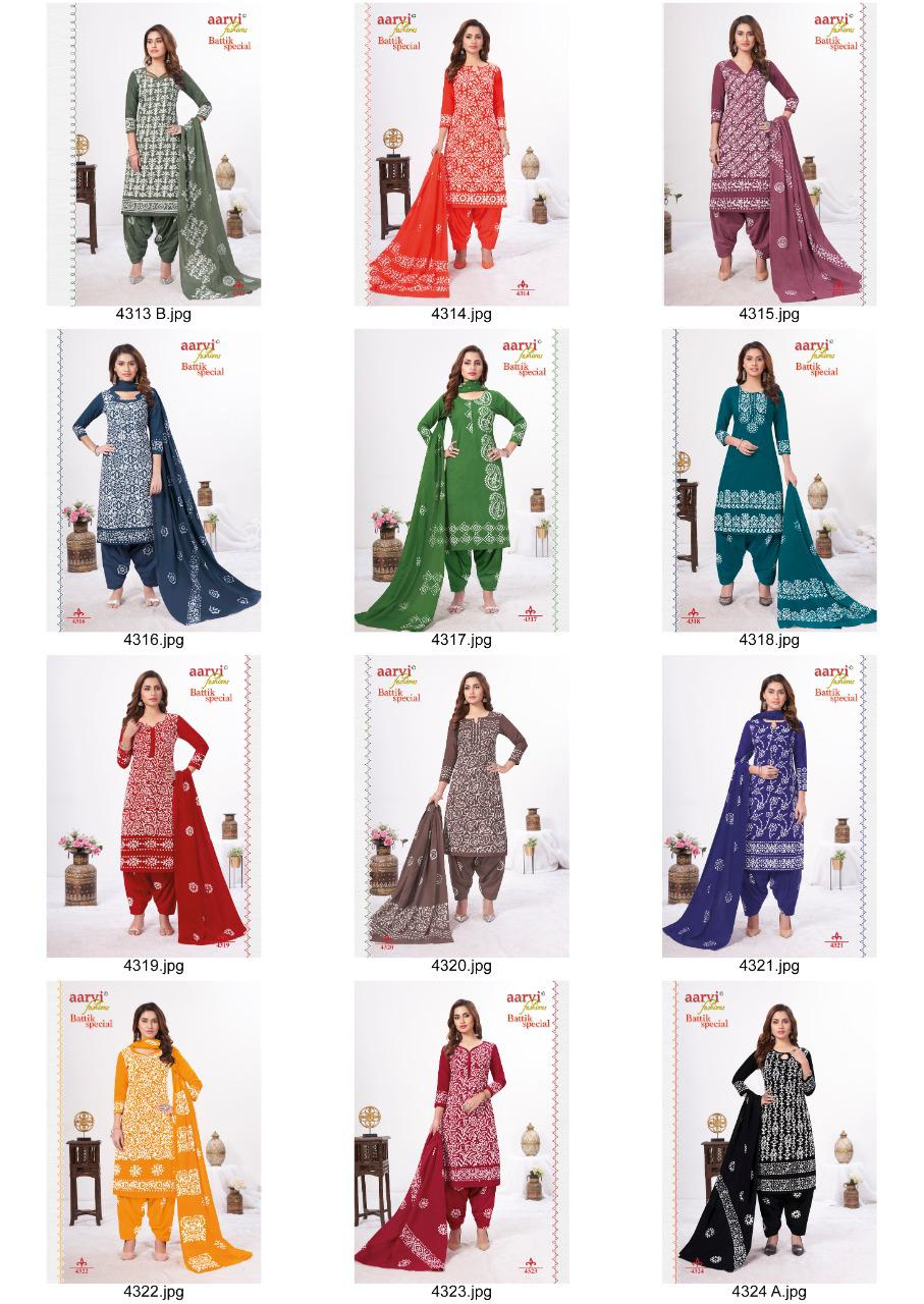 Aarvi Fashion Battik Special Vol 14 Cotton Hand Wax Readymade Patiayal Suits Collection