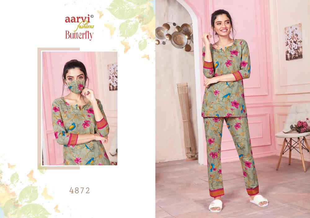 Aarvi Fashion Butterfly Vol 2 Printed Lawn Cotton Readymade Night Suits At Wholesale Rate