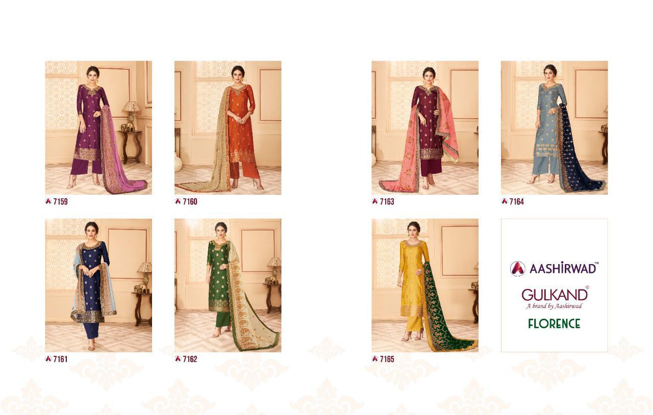 Aashirwad Creation Gulkand Florence Pure Dola Jacquard With Work Dress Material Collection At Wholesale Rate